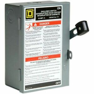 Square D 2 Pole Fusible Light Duty Safety Enclosed Switch Disconnect 30amp