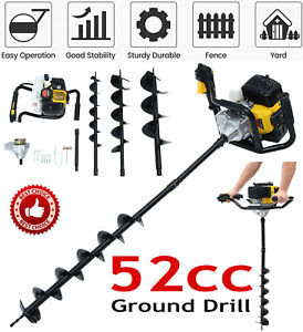 3hp Gas Powered Post Hole Digger With 3 Earth Auger Drill Bit 4 8 10 New Usa