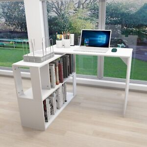 360 rotating Corner Desk L shaped Computer Table Home Office Combo Storage Shelf