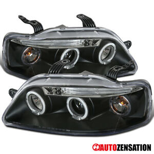 For 2004 2008 Chevy Aveo 4dr Black Led Halo Rims Projector Headlights Led Drl