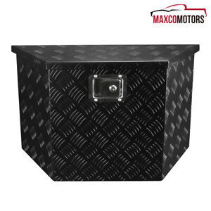 Black Aluminum 28 X 9 X 16 5 Pickup Truck Tool Box Trailer Storage With Lock
