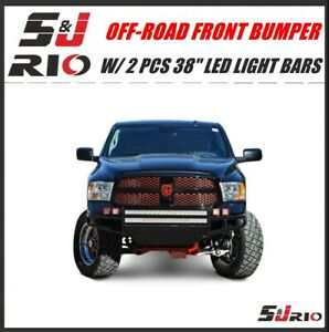 Black Off Road Front Bumper W 2 Pcs 38 Light Bars For 2002 2007 Dodge Ram 1500