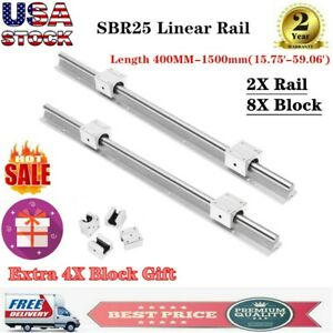 2x Sbr25 Linear Rail Guide 400 1500mm Slide Shaft Rod 8xsbr12uu Bearing Block Us