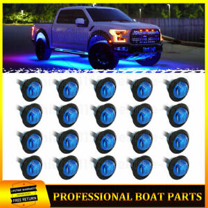 20x Blue Led Rock Lights Underglow Light For Jeep Truck Car Atv Suv Underbody