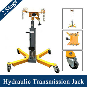 1500 Lbs Hydraulic Transmission Jack 2 Stage W 360swivel Wheels Lift Hoist