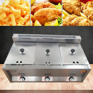 18l 6lx3 Commercial Gas Fryer Countertop Gas Deep Fryer Stainless Steel