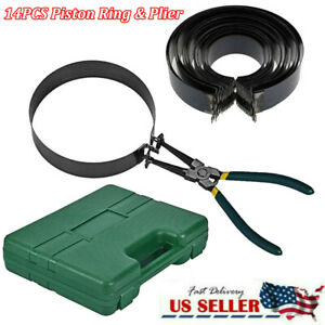 Piston Ring Compressor Cylinder Installer With Plier 14 Band Tool Carry Box