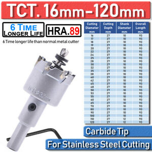 Tct Carbide Hole Saw Metal Cutter Stainless Steel Hss Metal Wood Alloy Cutting
