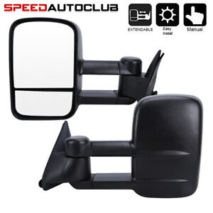 For Chevrolet Gmc C K 1500 2500 3500 Truck 88 98 Manual Towing Mirrors Pair Set