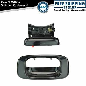 Tailgate Handle And Bezel Set Smooth Black For 99 06 Chevy Gmc Silverado Sierra