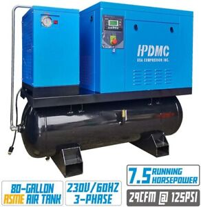 7 5hp Rotary Screw Air Compressor With Asme 80 Gallon Tank Refrigerated Dryer
