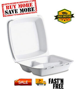 Triple compartment Foam Container 200 case High Insulation Keeps Food Hot cold