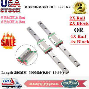 2x 4x Mgn9h Mgn12h Linear Sliding Guide Rail With Block L250 600mm 3d Printer