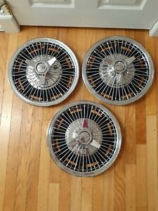 Vintage 1964 66 Chevy Spinner Wire Spoke Hubcaps Wheel Covers Bow Tie Gm 3 Bar