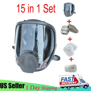 15 In 1 Full Face Gas Mask Painting Spraying Respirator Filters F 6800 Facepiece