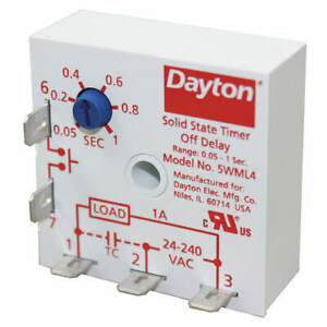 Dayton 5wml4 Encapsulated Timing Relay 24vac 1a