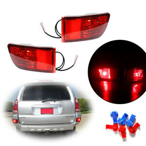 2pcs Red Lens Rear Bumper Tail Brake Led Lights Lamps For 2003 05 Toyota 4runner