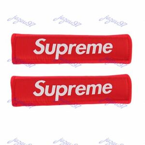 X2 Brand New Supreme Red Soft Touch Fabric Seat Belt Cover Shoulder Pad Cushion
