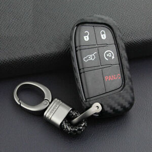 Car Key Case Cover Fob For 2011 2020 Chrysler 300 Carbon Fiber Look Accessories