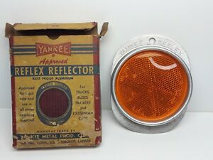 Vintage Nos Yankee Reflex Reflector Rust Proof Aluminum Light 139 amber In Box