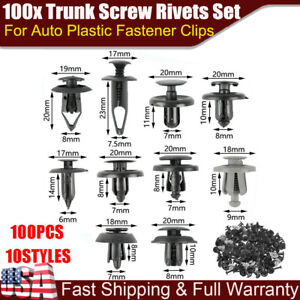 100x Trunk Screw Rivets Car Bumper Fender For Auto Plastic Fastener Clips Set
