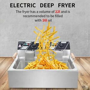 22l Electric Deep Fryer Dual Tank Stainless Steel Fry Basket Commercial 5000w