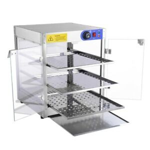 Commercial Food Warmer Court Heat Food Pizza Display Warmer Cabinet 24 glass Us
