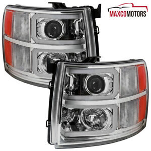 For 2007 2013 Chevy Silverado 1500 2500hd Projector Headlights W Led Drl Tube