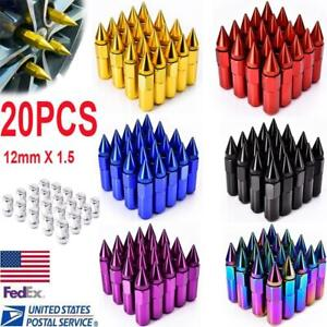 20x Aluminum Alloy M12x1 5 60mm Spiked Wheel Lug Nut Rim Extended Tuner Fit Most