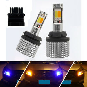Canbus Led Drl Switchback Front Turn Signal Parking Light Bulbs 3157 Blue Amber