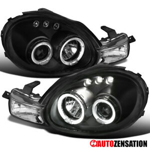 For 2000 2002 Dodge Neon Black Led Halo Projector Headlights W Signal Lamps