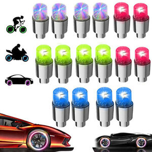 4 8pcs Led Wheel Tire Tyre Valve Stem Caps Neon Light For Car Motorcycle Bike
