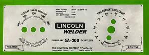 Lincoln Arc Welder Sa 200 f 162 m 8803 Laser Etched Aluminum Control Panel