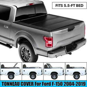 For 2004 2019 Ford F 150 Lock Hard Solid Tri Fold Truck Bed Tonneau Cover 5 5ft