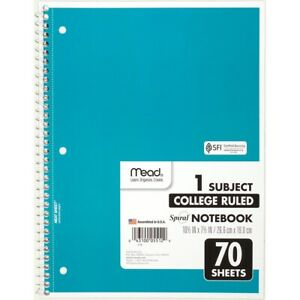 Mead College Ruled 1 Subject Spiral Notebook