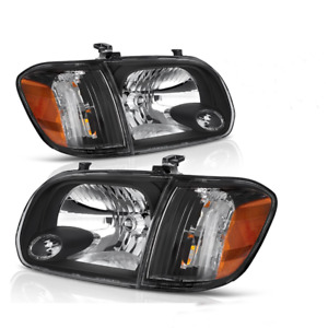 For 2005 2006 2007 Toyota Tundra Headlights Assembly Black Head Lamps 4pc Set