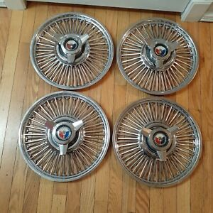 1961 1964 Ford Galaxie 500 Spinner Hubcaps Wire Spoke Hub Caps 14