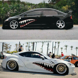 150x40cm Diy Shark Mouth Tooth Style Vinyl Sticker Fit For Car Side Door Decor