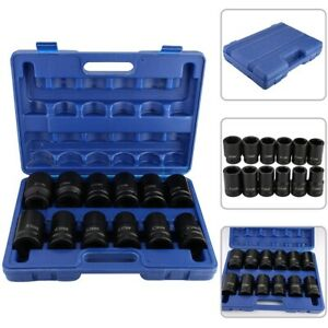 12pcs 1 Inch Deep Impact Socket Set Drive 24 41mm Metric Garage Sae With Case Bl