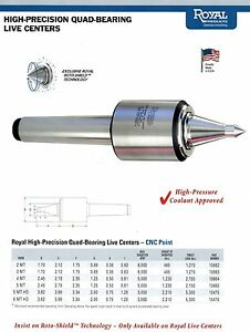 Royal High Precision Quad Bearing Live Center Extended Point Mt 3 10663