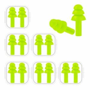 6 Pairs Reusable Silicone Ear Plugs Waterproof Hypoallergenic Ultra