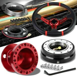 Red Slit Spoke Steering Wheel U043 Red Hub Black Quick Release For 84 09 Corolla