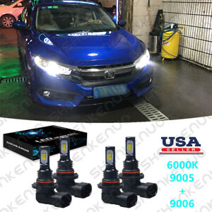 For Honda Civic 2006 2007 2008 2009 2011 4x Led Headlights Hi lo Bulbs 6000k