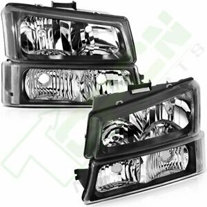 Headlights Fits 03 07 Chevrolet Silverado 1500 Driver Passenger Side Headlamp