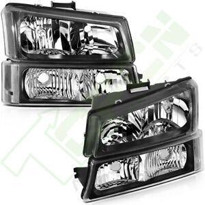 Fits Chevy Silverado Avalanche 2003 2006 Headlights Assembly Pair Headlamp Set