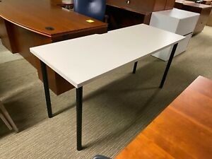 60 w X 24 d Training classroom Table In Beige Laminate Top Black Metal Legs