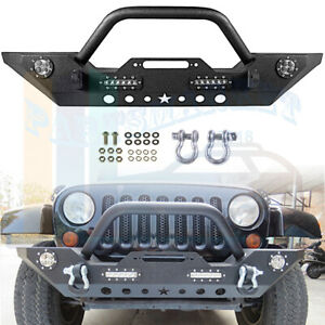 Front Bumper With 4x Led Lights Built In Winch Plate For Jeep Wrangler Jk 07 18