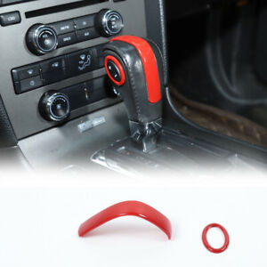 Central Gear Shift Handlebar Knob Trim Decor Cover For Ford Mustang 2009 14 Red