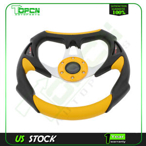 Brand New 320mm Battle Style Racing Steering Wheel Black And Yellow