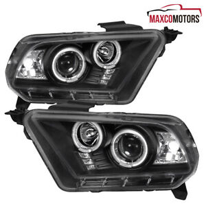 Black Fits 2010 2014 Ford Mustang Halo Rims Projector Headlights led Drl Lamps